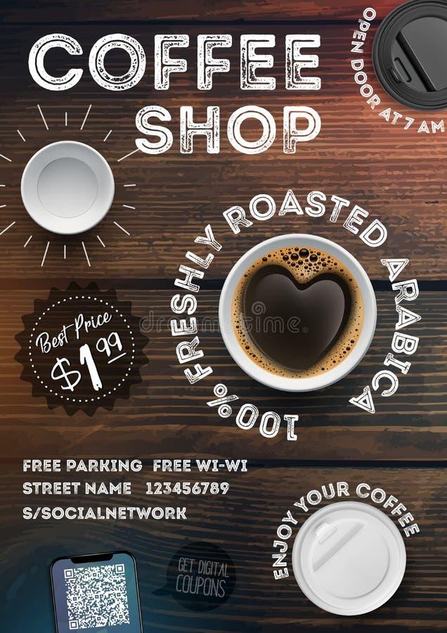 咖啡店在葡萄酒木纹理背景的飞行物模板 在小册子,海报,横幅,传单的广告邀请 皇族释放例证