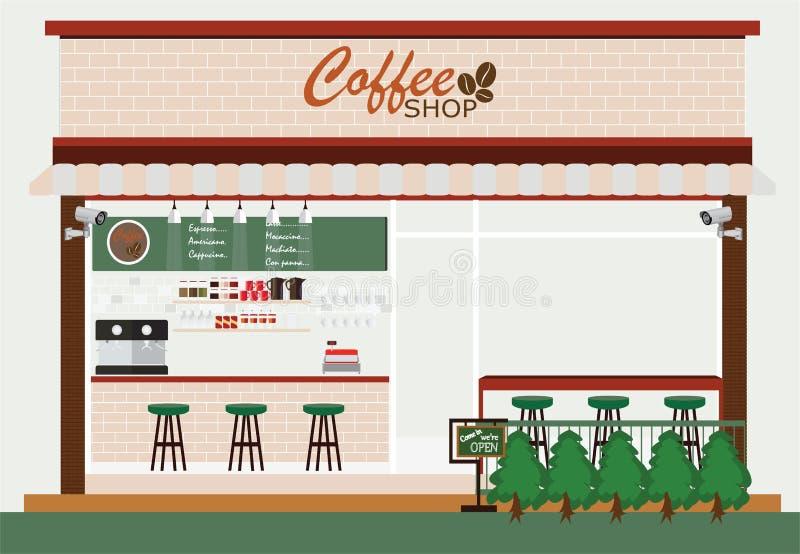 咖啡店大厦和内部 皇族释放例证