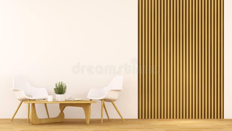 咖啡店或客厅干净的设计- 3D翻译 皇族释放例证