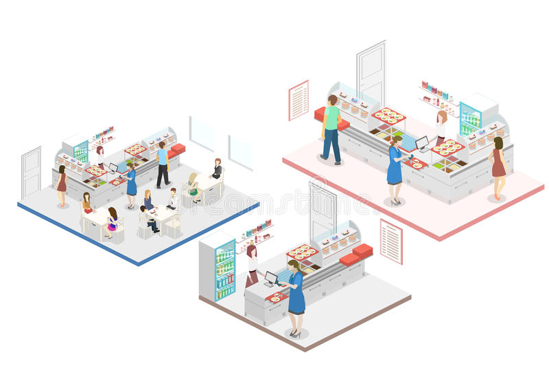 咖啡店的等量平的3D概念内部 向量例证
