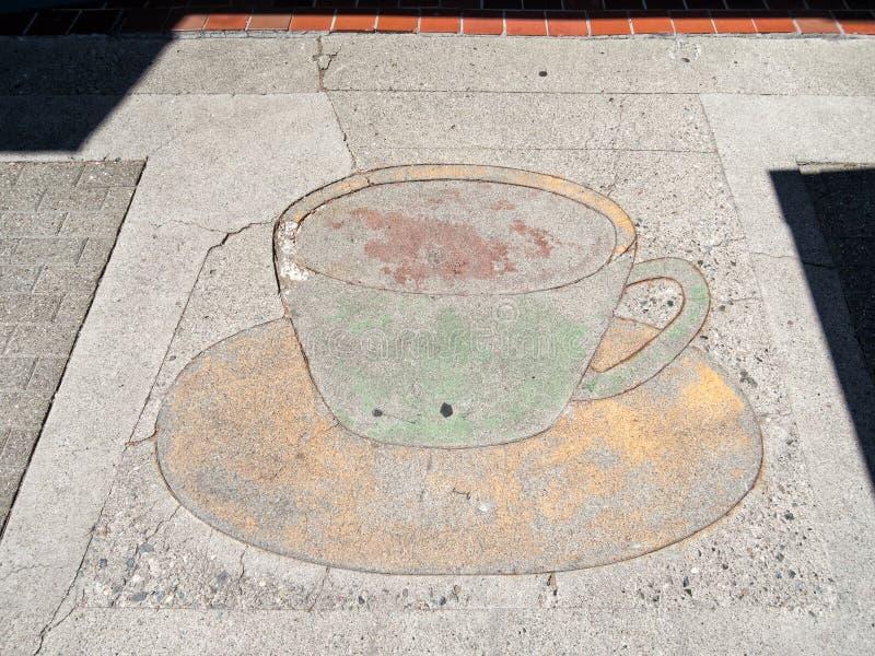 咖啡店边路广告 图库摄影