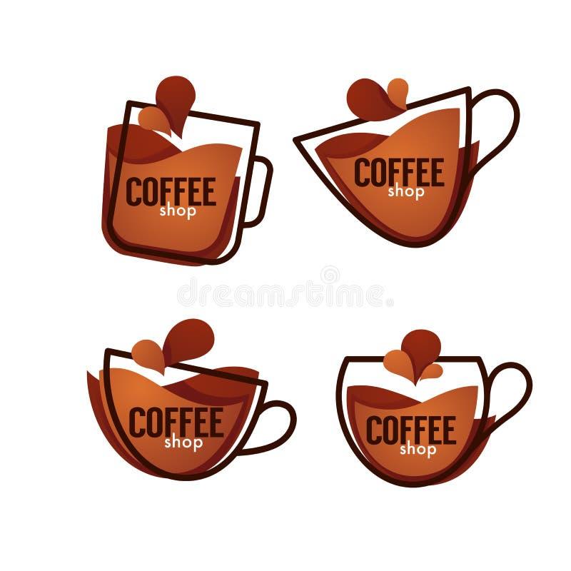咖啡徽标界面 导航热和甜点饮料symb的汇集 库存例证