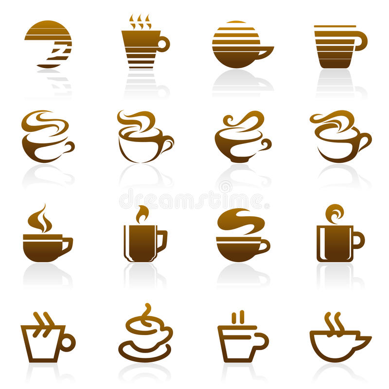 咖啡徽标集合模板向量 库存例证
