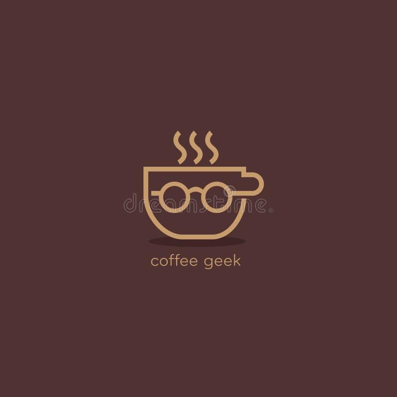 咖啡怪杰玻璃caffee商标设计 免版税库存照片