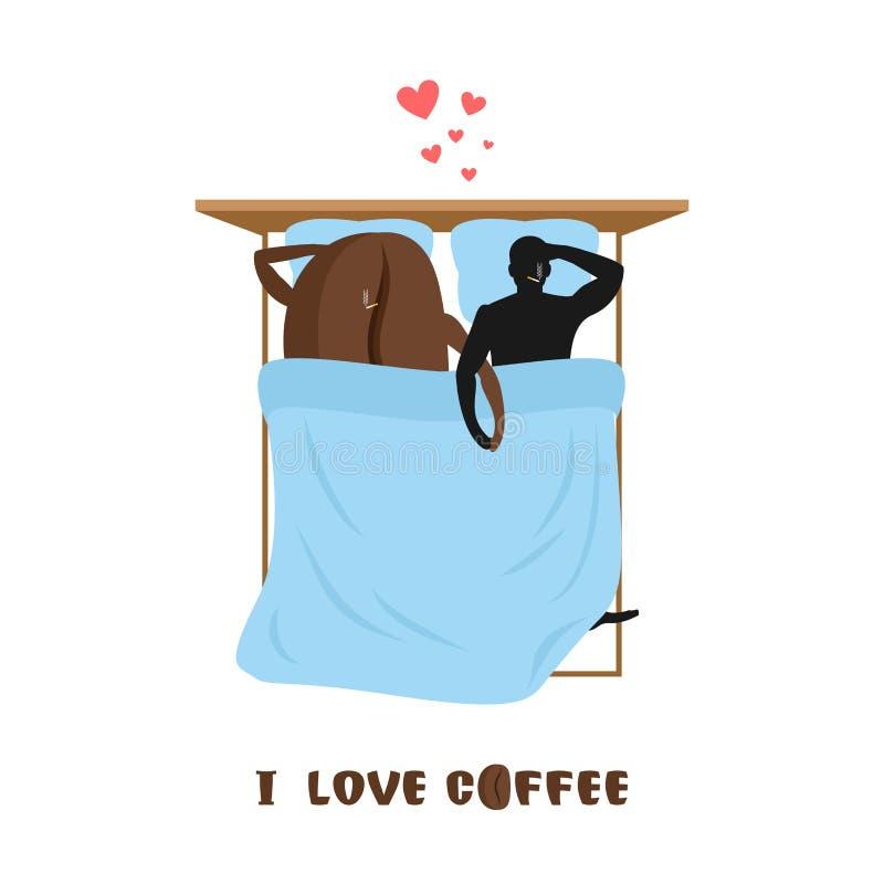 咖啡恋人 咖啡豆和人 床顶视图的恋人 smo 库存例证