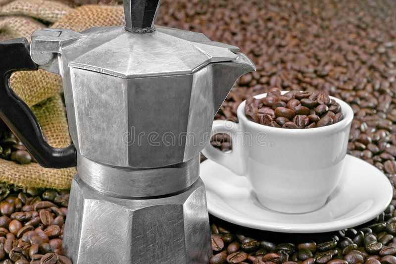咖啡意大利人罐 库存照片