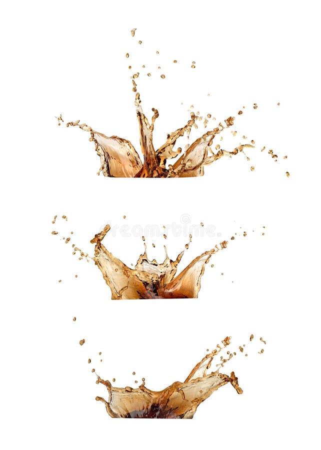 咖啡或可乐飞溅集合 免版税库存图片