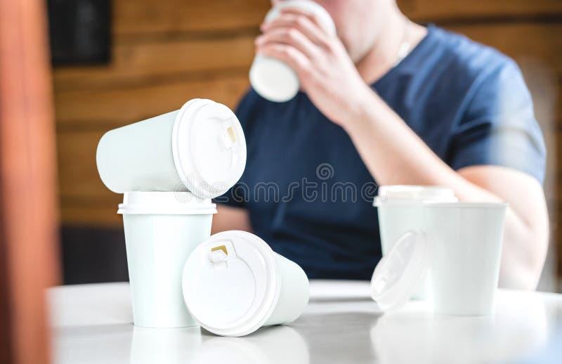 咖啡或咖啡因瘾概念 免版税库存照片