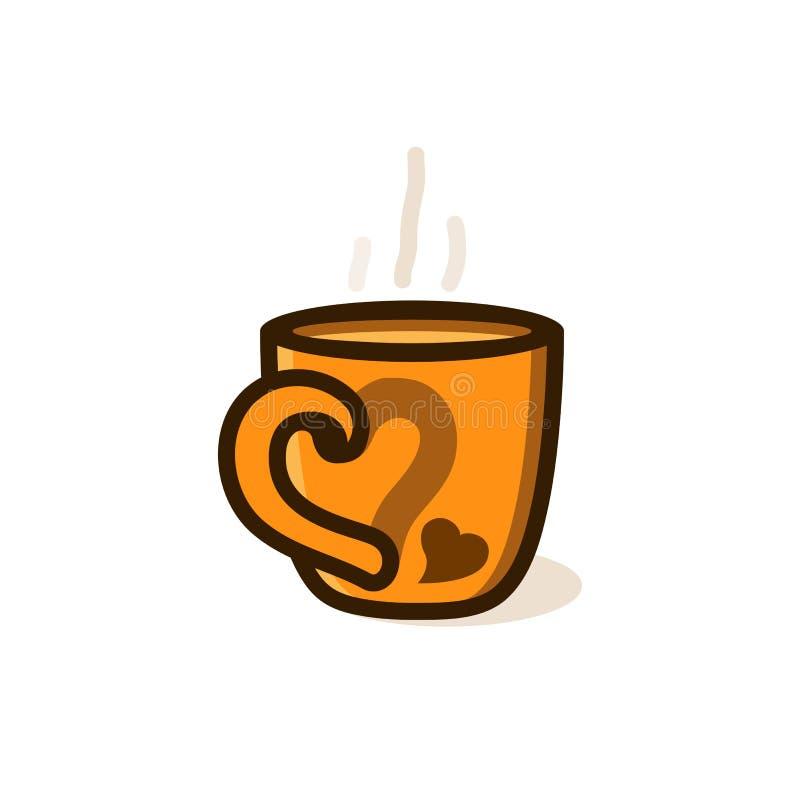 咖啡或茶与烟与心脏 向量例证