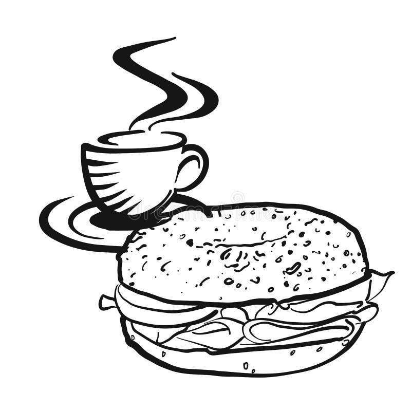 咖啡或茶与百吉卷商标 向量例证