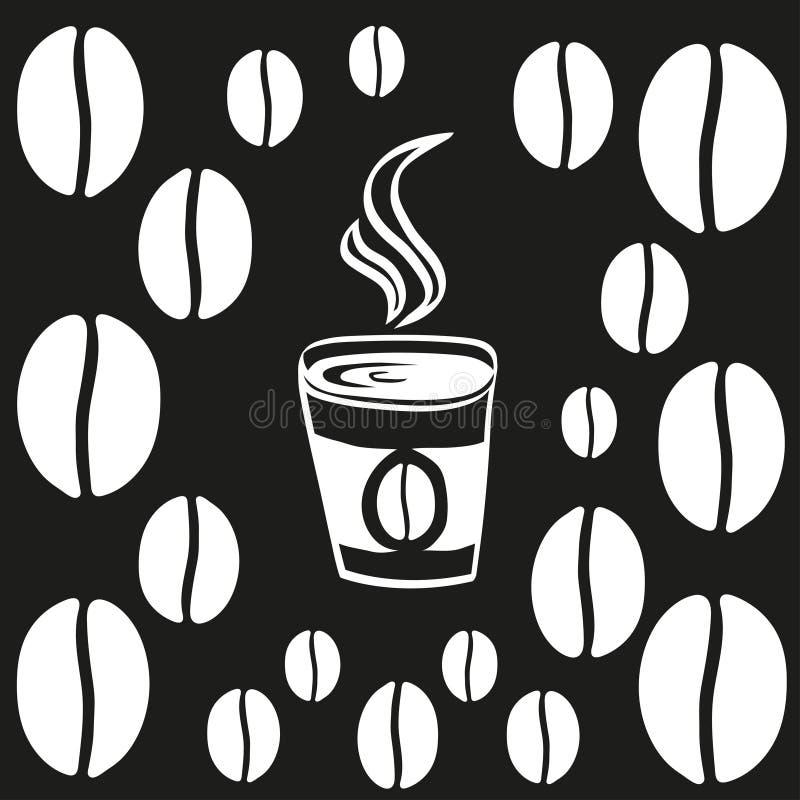 咖啡或茶与蒸汽稀薄的线概述 象传染媒介例证 免版税库存照片