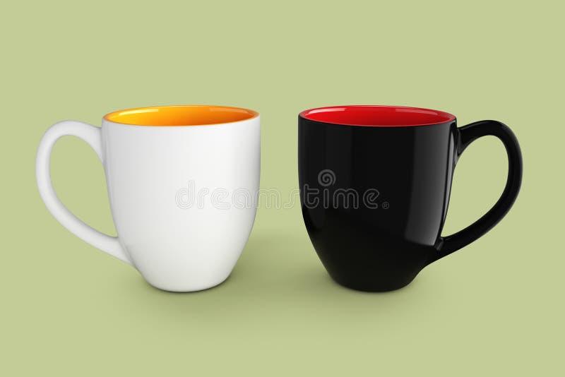 咖啡或茶的空的空白的黑白杯子 3d翻译 向量例证