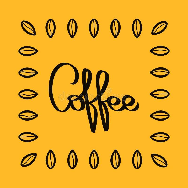 咖啡手写的黑行情印刷术,豆框架 书法样式词 手拉的商店促进刺激图形设计 库存例证