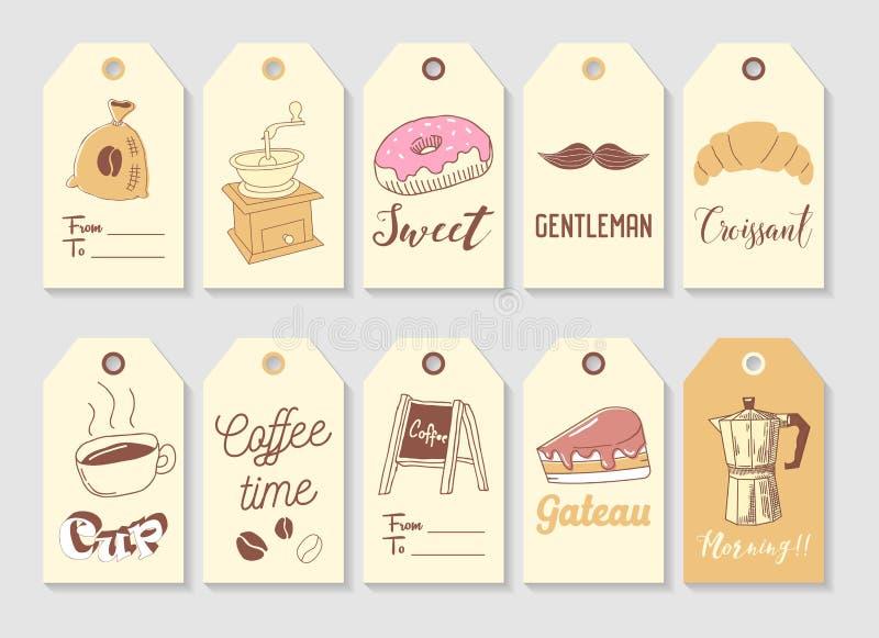 咖啡手拉的标记收藏 与热的饮料和甜食物的葡萄酒样式徒手画的元素 皇族释放例证