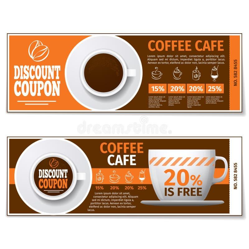 咖啡折扣优惠券或礼券 边界月桂树离开橡木丝带模板向量 向量例证