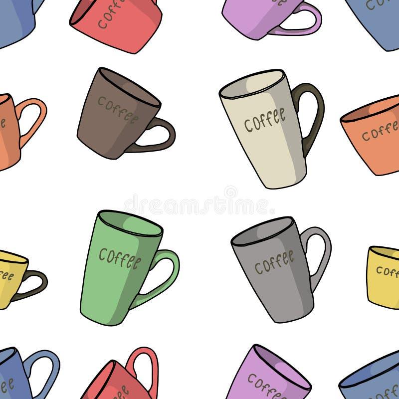 咖啡无缝的样式 皇族释放例证