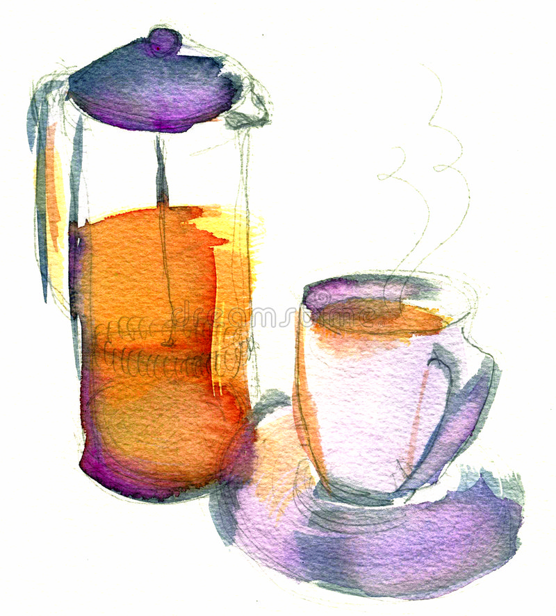 Download 咖啡早晨 库存例证. 插画 包括有 新闻, 咖啡, 水彩, 杯子, 制动手, 例证, 紫色, 法国, 橙色, 艺术 - 189437