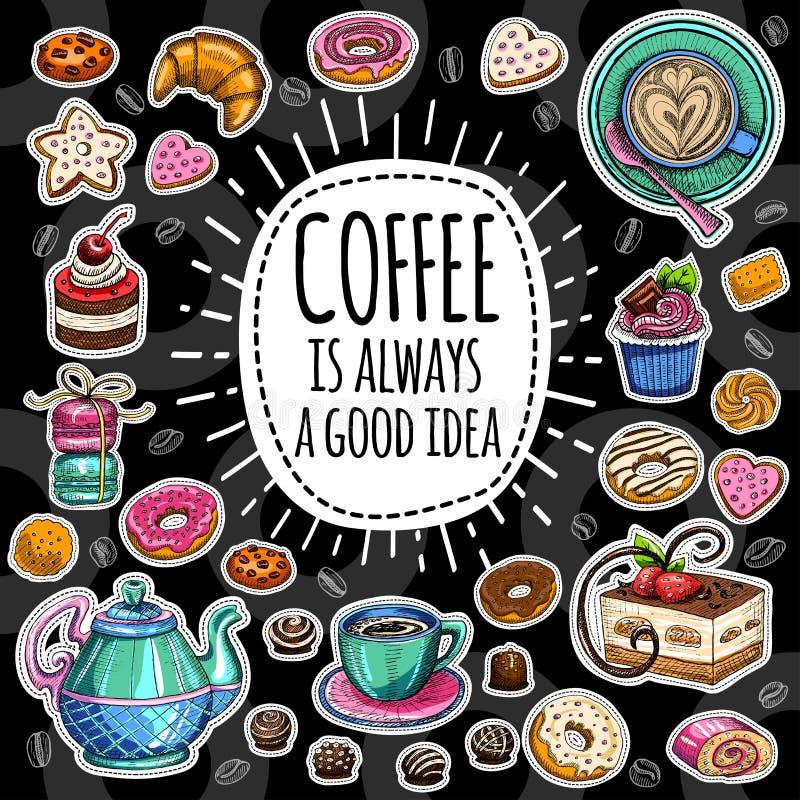 咖啡时髦传染媒介集合 向量例证
