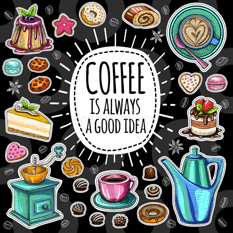 咖啡时髦传染媒介集合 库存例证