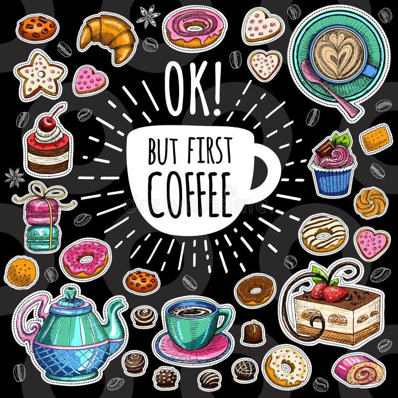 咖啡时髦传染媒介集合 皇族释放例证
