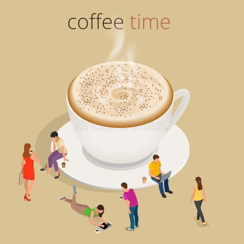咖啡时间或咖啡休息 小组人聊天的互作用交往的概念 库存例证