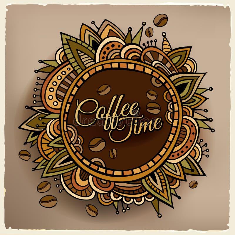 咖啡时间装饰边界标签设计 库存例证
