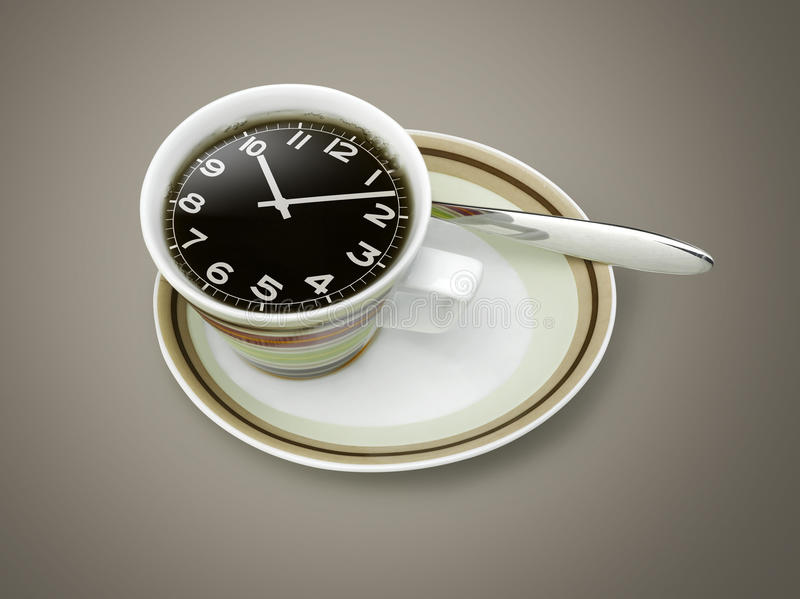 download 咖啡时间,在咖啡杯的手表图画 库存照片.图片