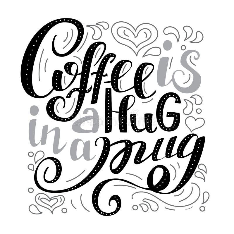 咖啡是在杯子的拥抱 手在上写字的行情 库存例证
