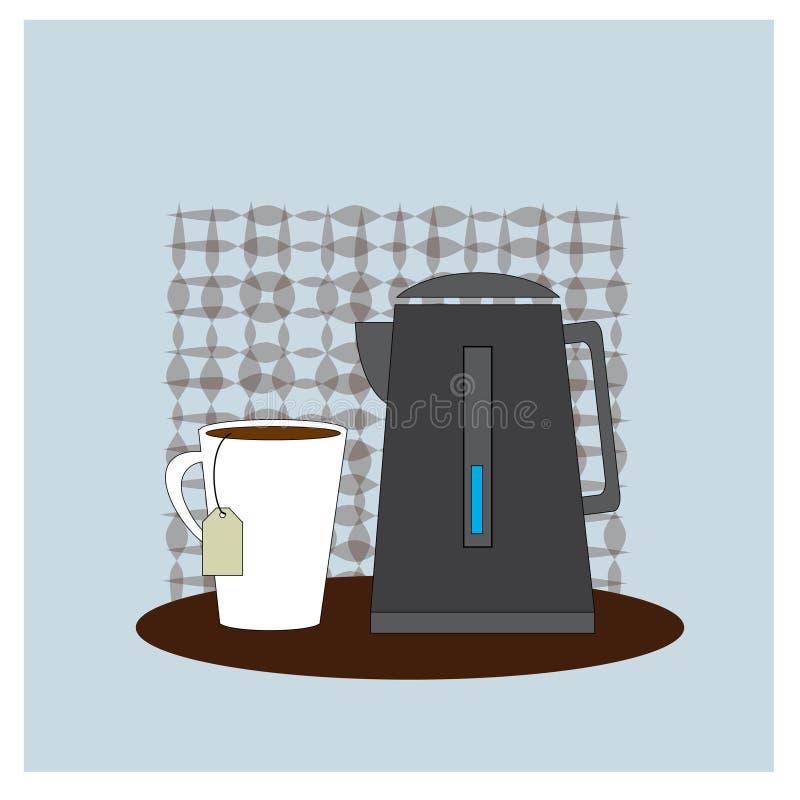 咖啡更多时间 与咖啡的Illusration和茶壶 传染媒介海报概念 库存例证
