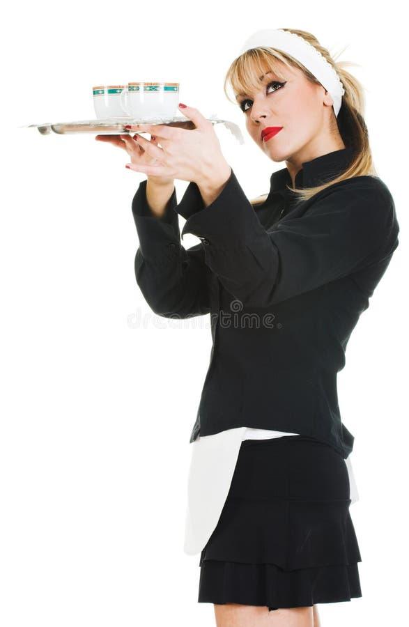 咖啡服务女服务员 库存图片