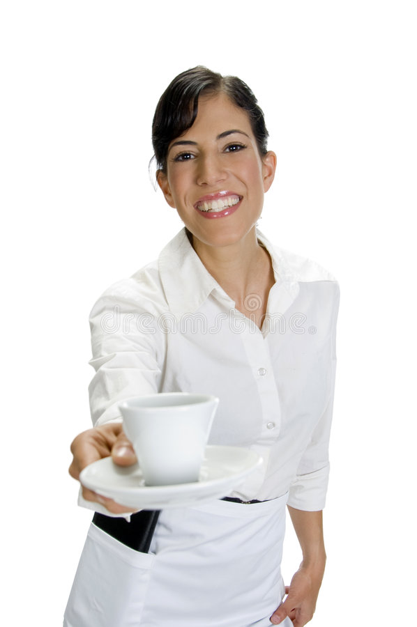 咖啡服务微笑的女服务员 免版税库存照片