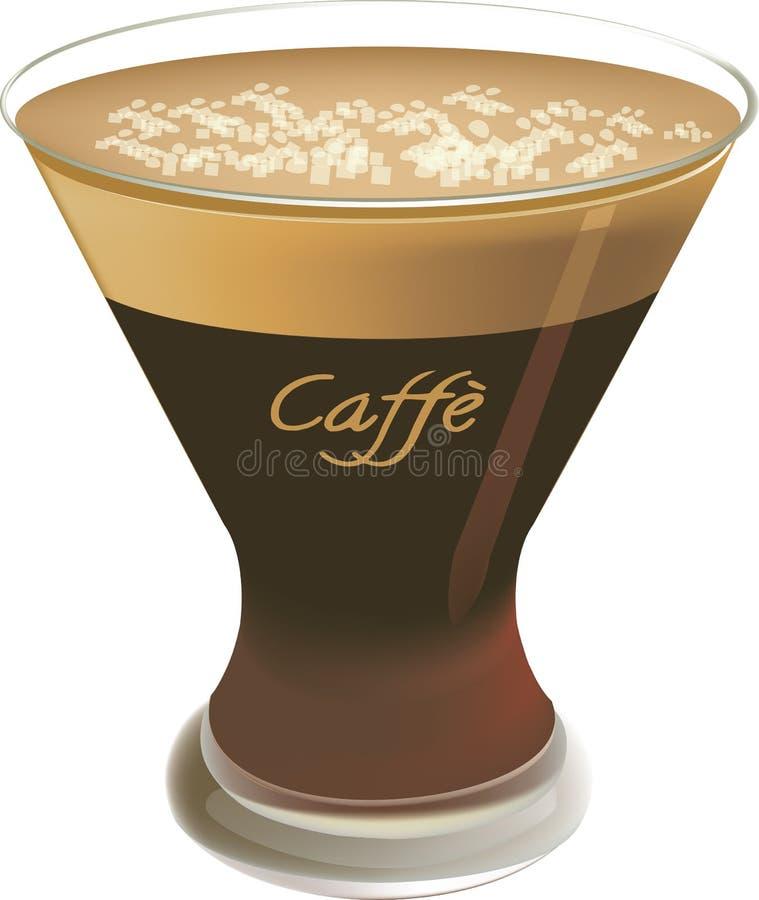 咖啡服务的冷的shakerato 库存例证