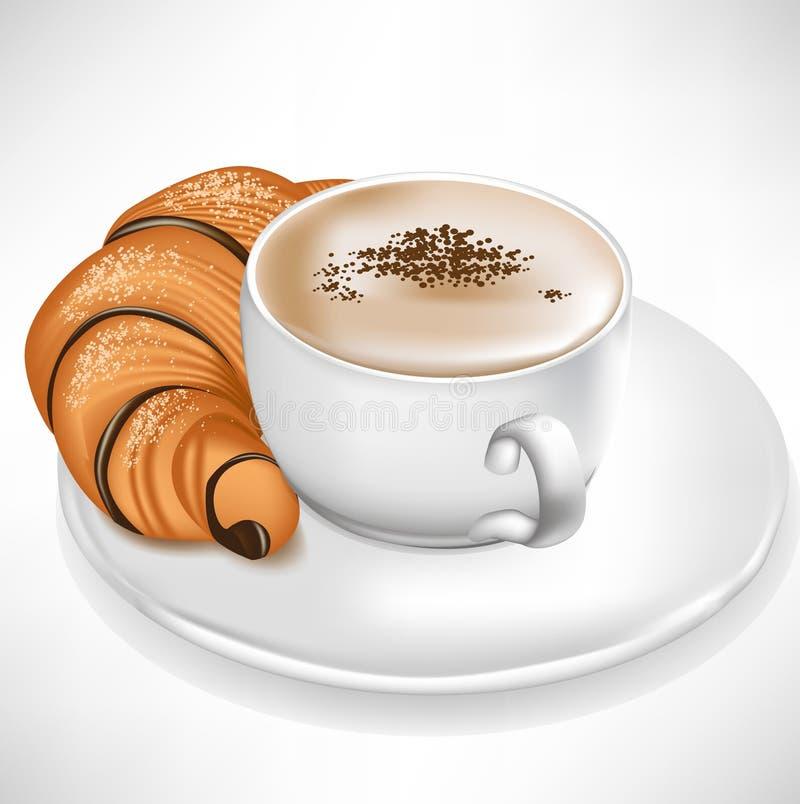 咖啡服务的新月形面包杯子 皇族释放例证