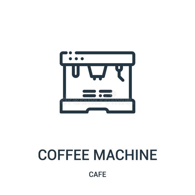 咖啡机从咖啡馆汇集的象传染媒介 稀薄的线咖啡机概述象传染媒介例证 r 皇族释放例证