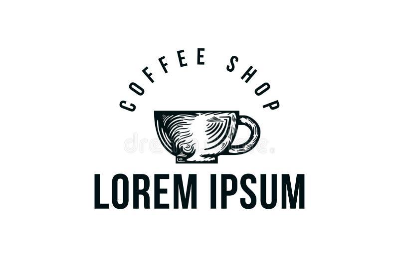 咖啡杯、茶和咖啡商标 库存例证