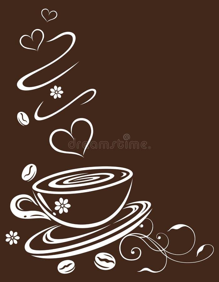 咖啡杯、褐色和白色 库存例证
