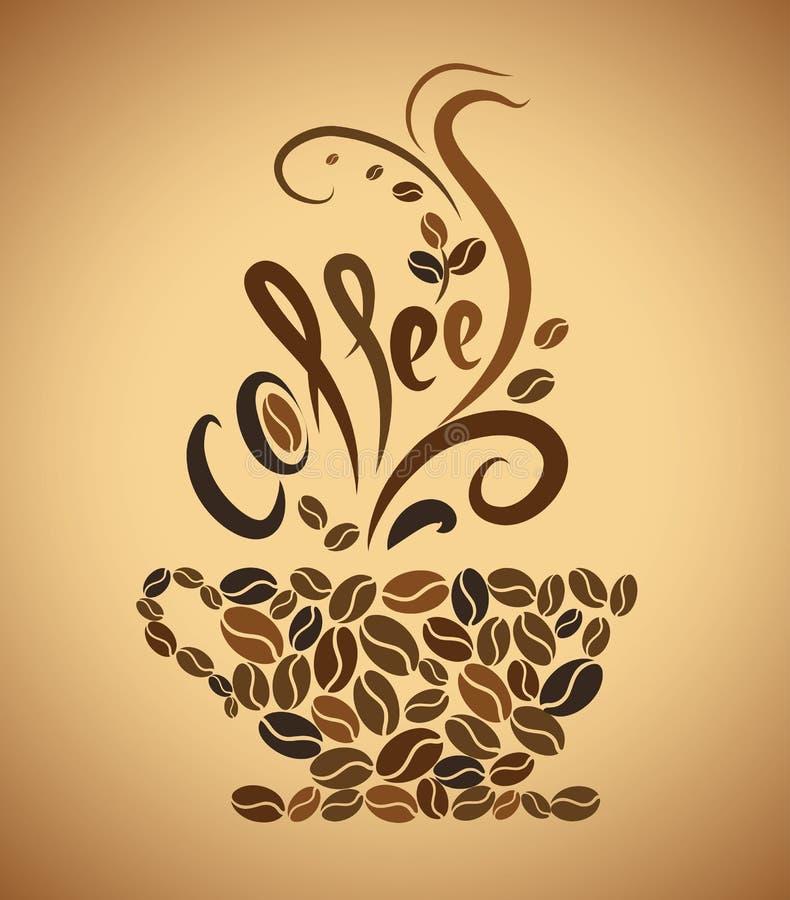 咖啡杯。豆咖啡 皇族释放例证