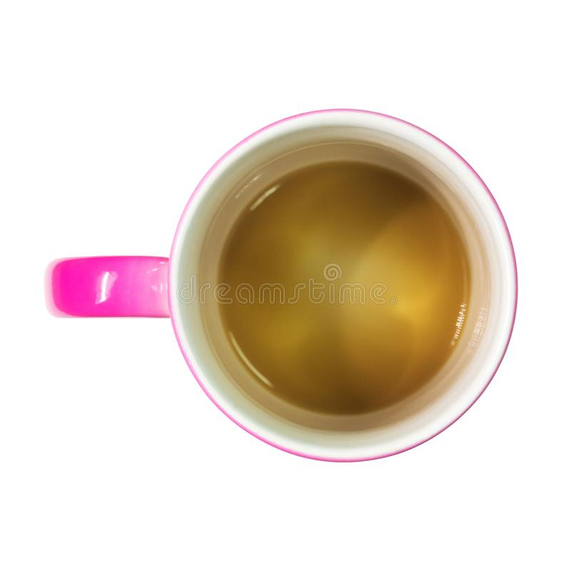 咖啡杯一张顶视图在被隔绝的背景的与裁减路线 蒙太奇或您的设计的桃红色拿铁杯子 库存例证