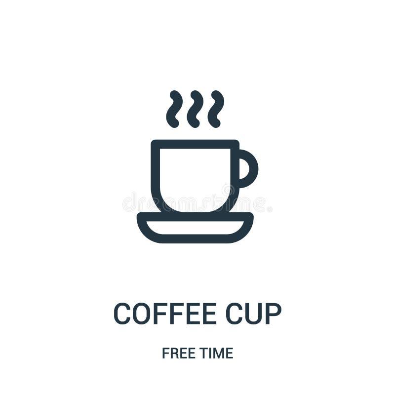 咖啡杯从时间汇集的象传染媒介 稀薄的线咖啡杯概述象传染媒介例证 线性标志为使用 皇族释放例证