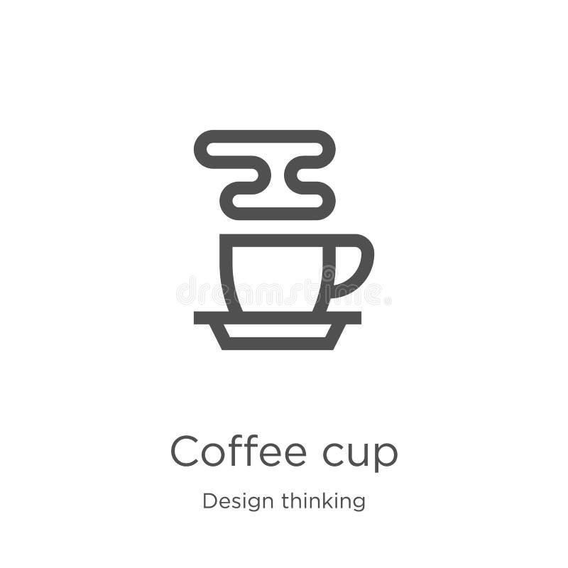 咖啡杯从设计想法的收藏的象传染媒介 稀薄的线咖啡杯概述象传染媒介例证 概述,稀薄的线 库存例证