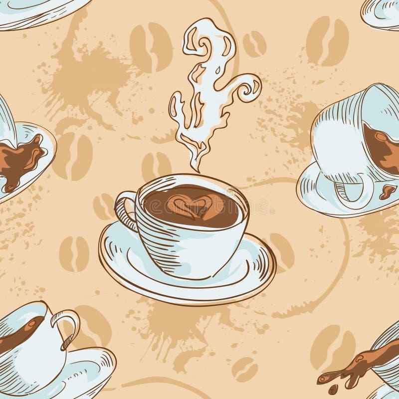咖啡杯仿造无缝 库存例证