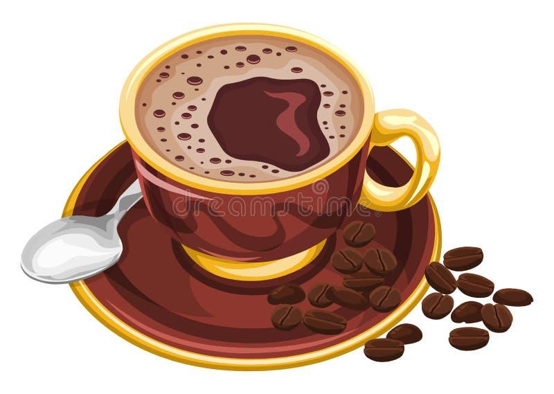 咖啡杯传染媒介用豆 库存图片