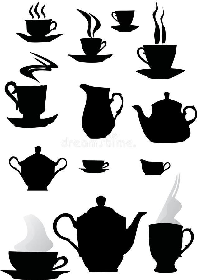 咖啡杯剪影 库存图片