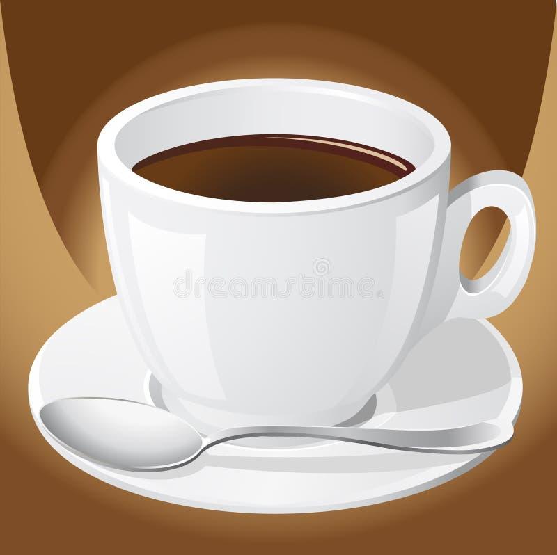 咖啡杯匙子 皇族释放例证
