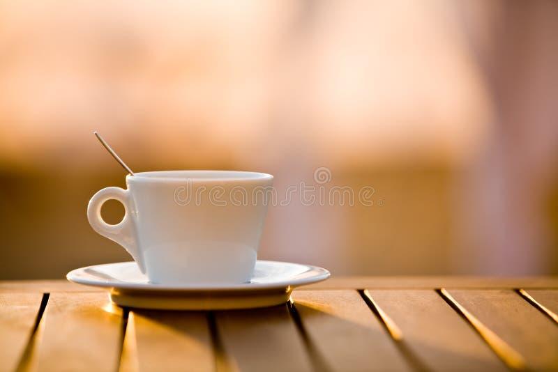 咖啡杯匙子 免版税库存照片
