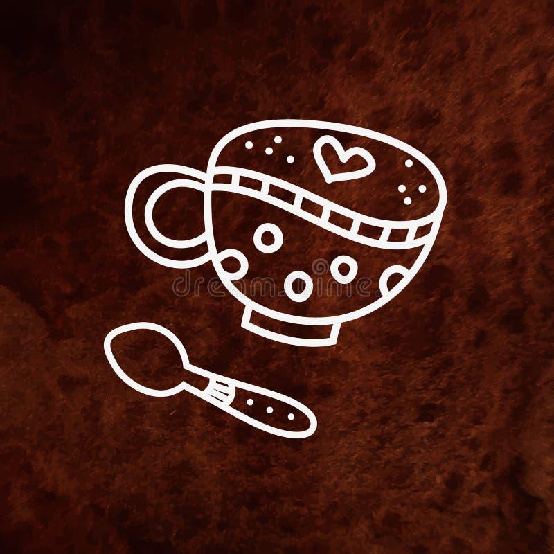咖啡杯和匙子在棕色织地不很细背景 向量例证