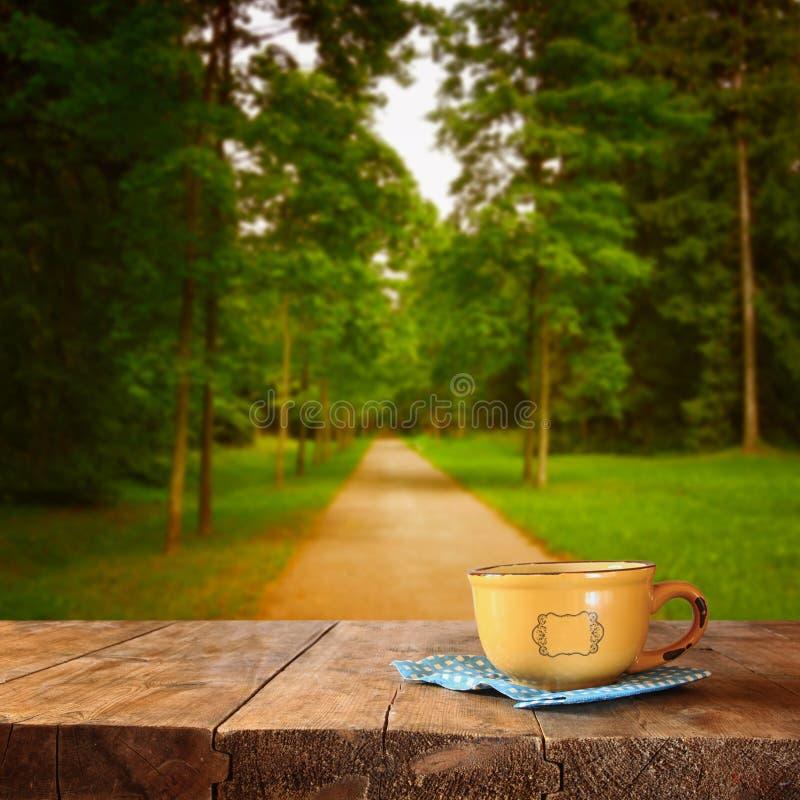 咖啡杯和在秋季森林背景前面的秋叶的前面图象在木桌的 图库摄影
