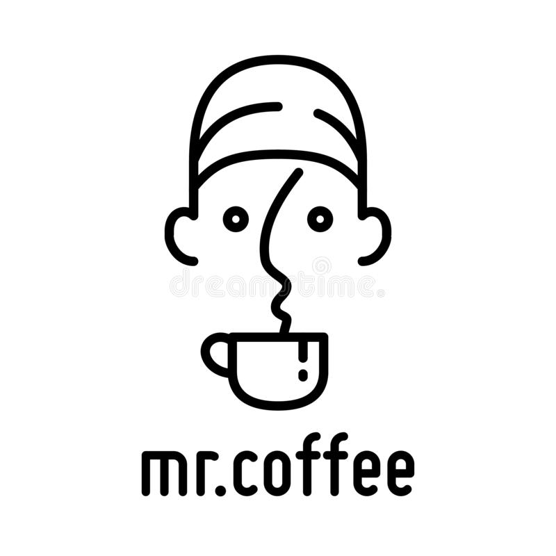 咖啡杯和盖帽人商标传染媒介 向量例证