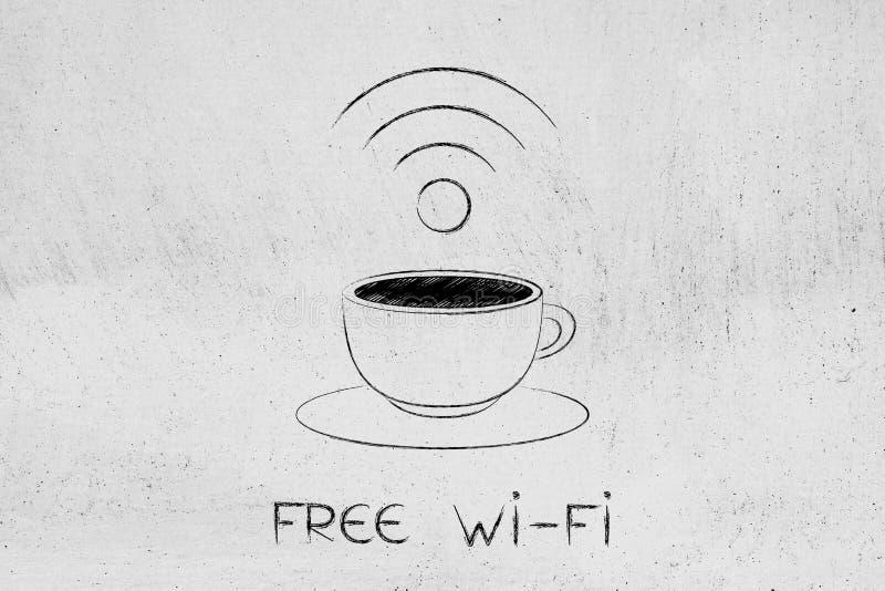 咖啡杯和自由Wi-Fi标志 向量例证