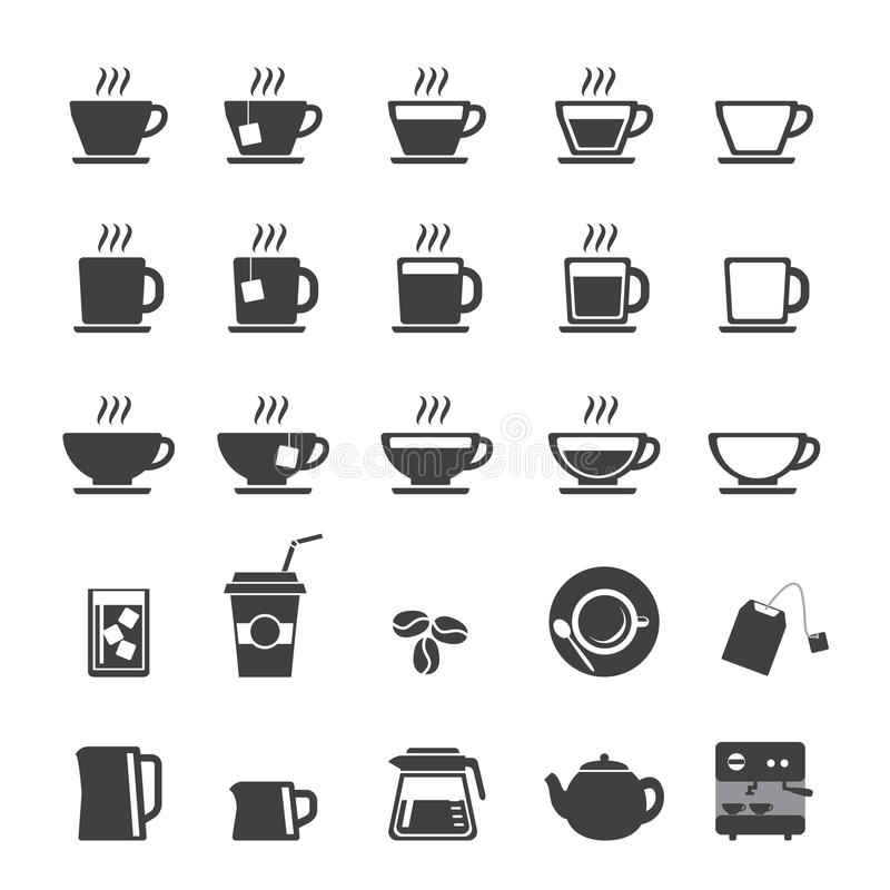 咖啡杯和茶杯象集合 向量例证